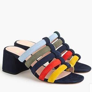 J. Crew Strappy Penny Slide Multicolored Sandals